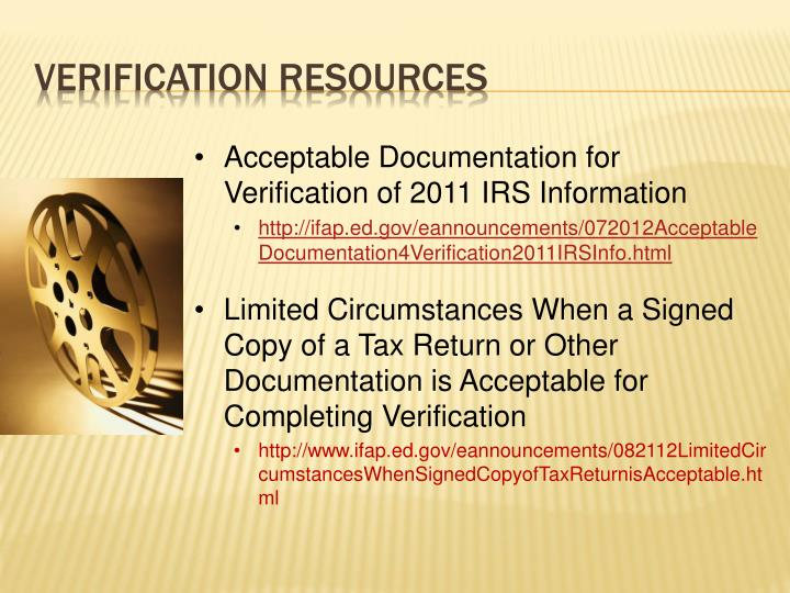 Acceptable Documentation for Verification of 2011 IRS Information