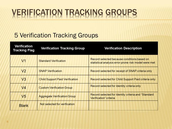 5 Verification Tracking Groups