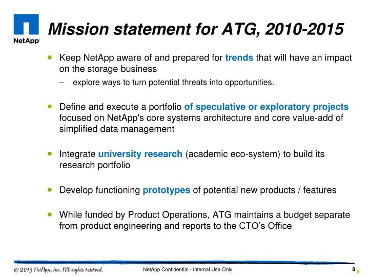 Mission statement for ATG, 2010-2015