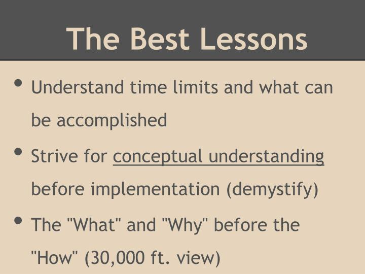 The Best Lessons