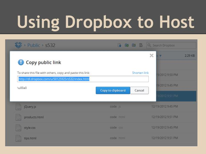 Using Dropbox to Host