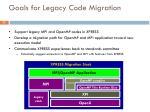 goals for legacy code migration