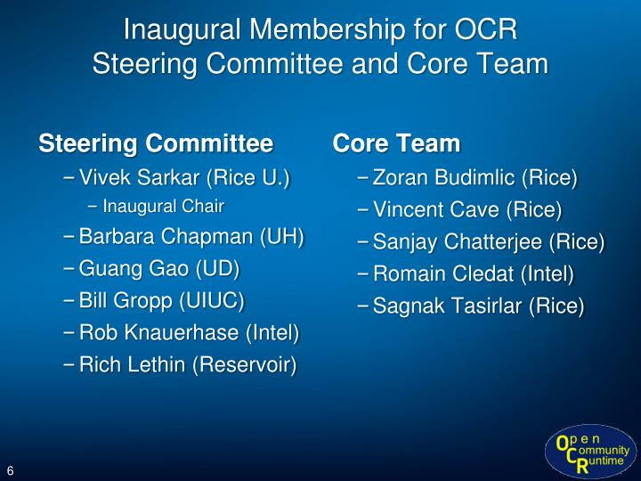 Inaugural Membership for OCR