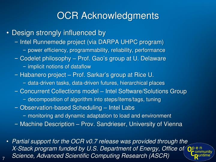 OCR Acknowledgments