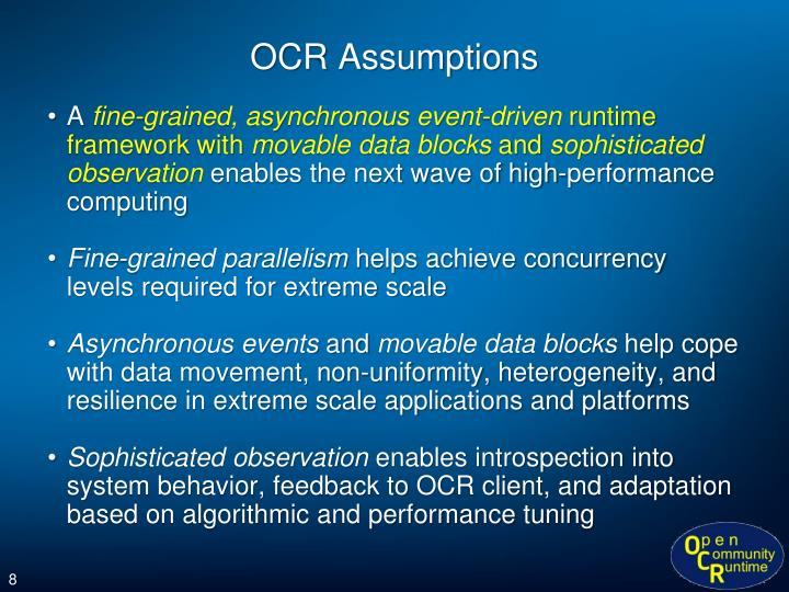 OCR Assumptions