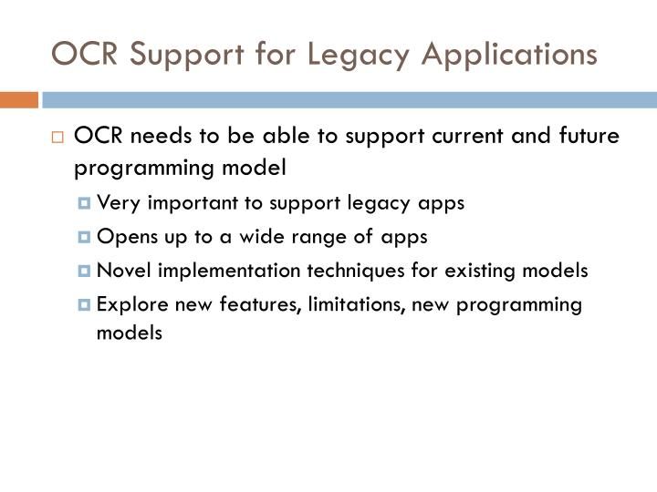 OCR Support for Legacy Applications