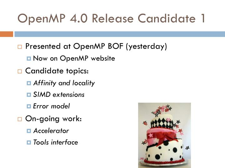 OpenMP 4.0 Release Candidate 1