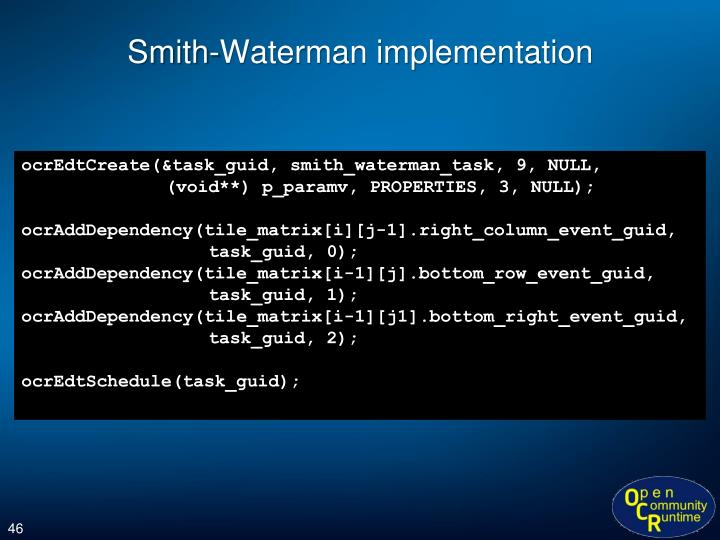 Smith-Waterman implementation