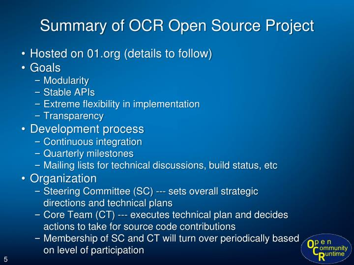 Summary of OCR Open Source Project