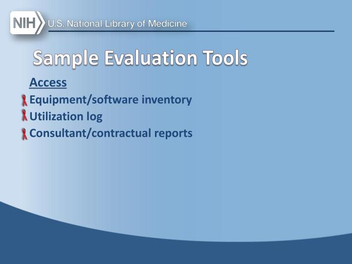 Sample Evaluation Tools