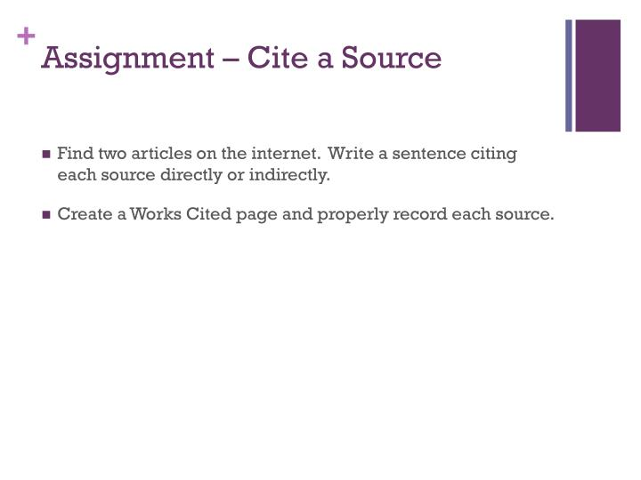 Assignment – Cite a Source