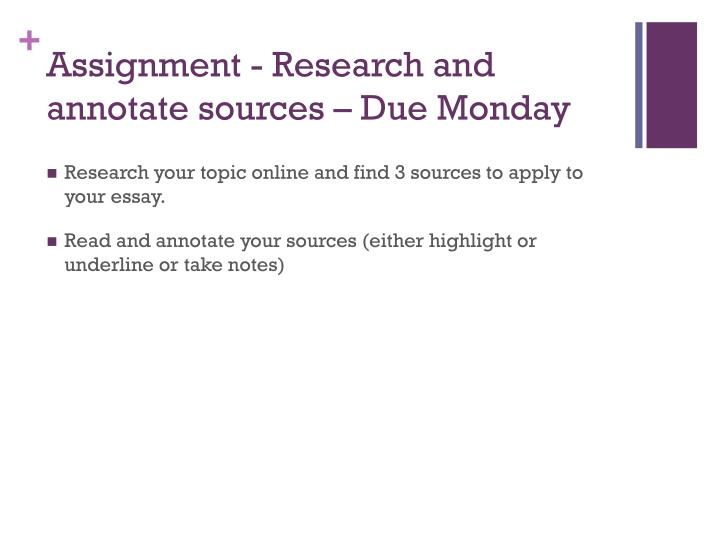 Assignment - Research and annotate