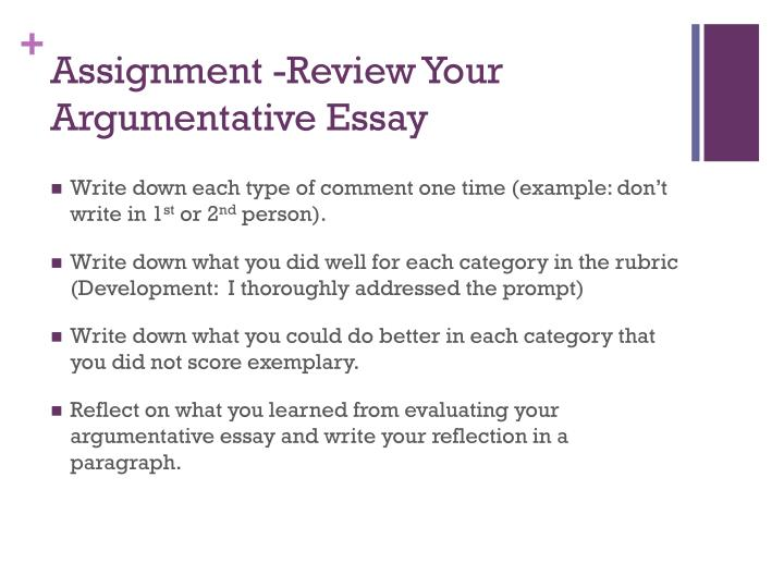 Assignment -Review Your Argumentative Essay
