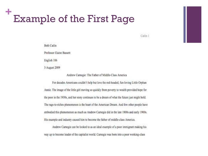 Example of the First Page