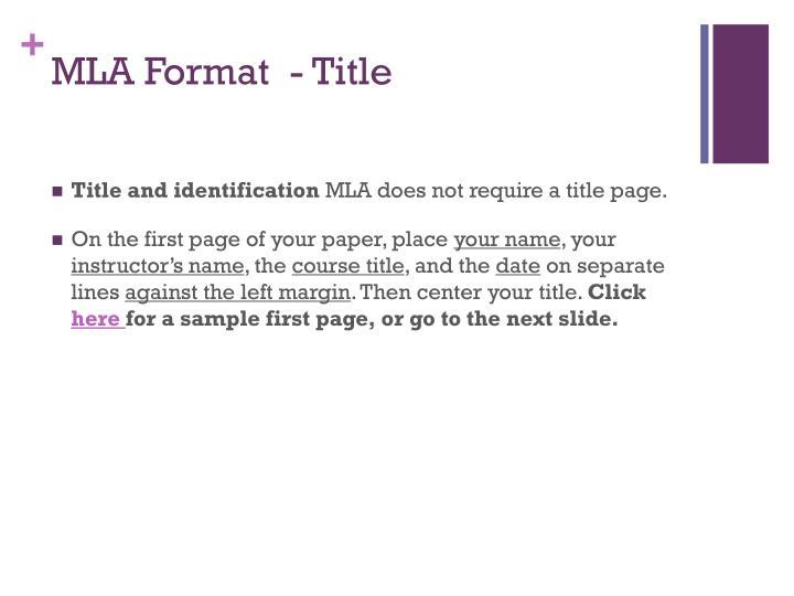 MLA Format  - Title