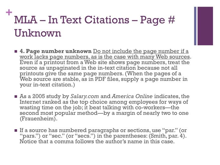 MLA – In Text Citations – Page # Unknown
