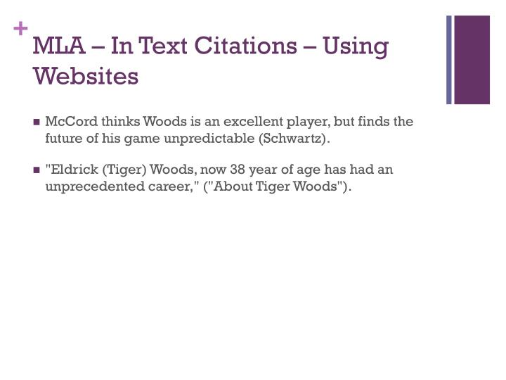 MLA – In Text Citations – Using Websites