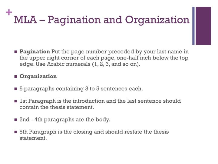 MLA – Pagination and Organization