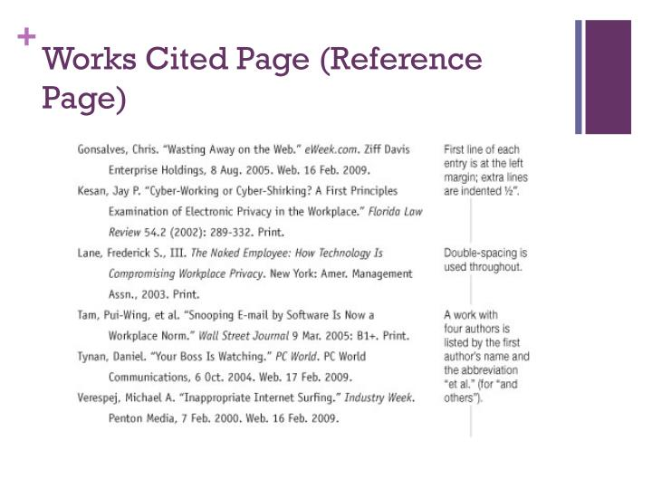 Works Cited Page (Reference Page)