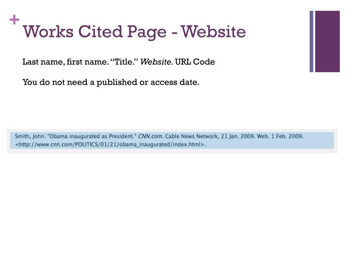 Works Cited Page - Website