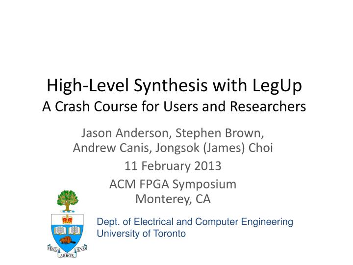 High-Level Synthesis with