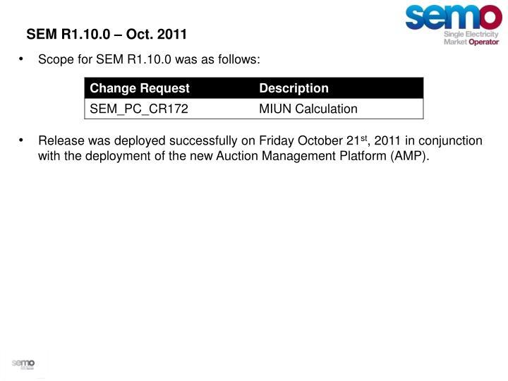 SEM R1.10.0 – Oct. 2011
