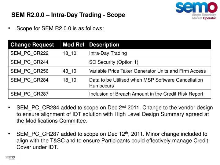 SEM R2.0.0 – Intra-Day Trading - Scope