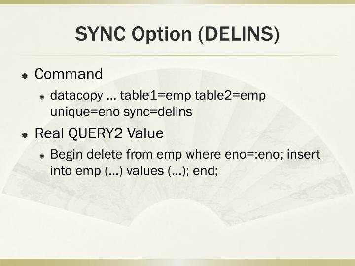 SYNC Option (DELINS)