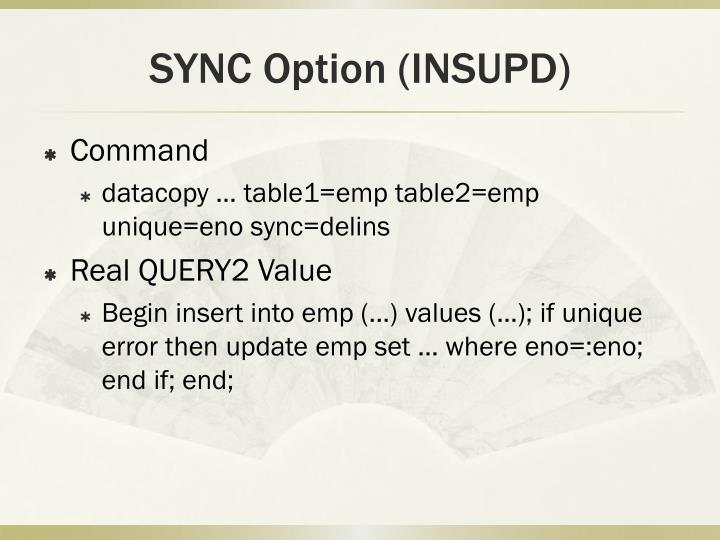 SYNC Option (INSUPD)