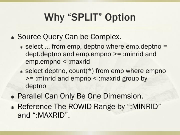 "Why ""SPLIT"" Option"