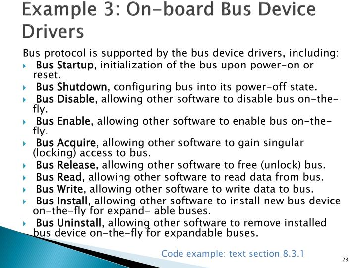Example 3: On-board Bus Device Drivers