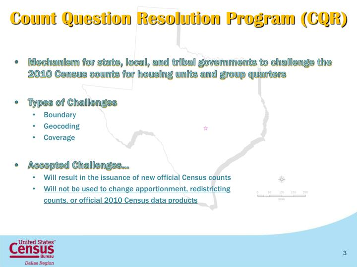 Count Question Resolution Program (CQR)