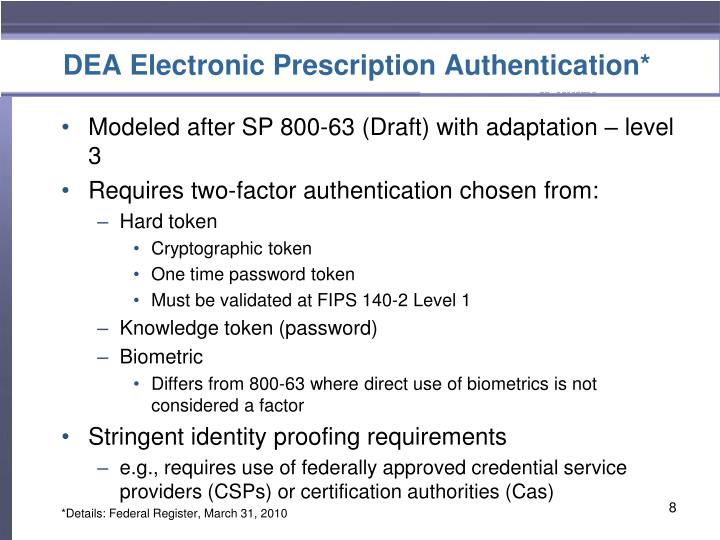 DEA Electronic Prescription Authentication*