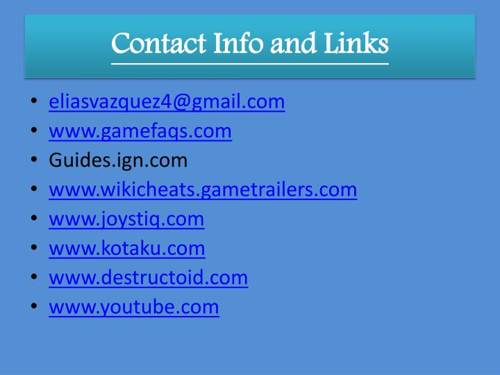 Contact Info and Links