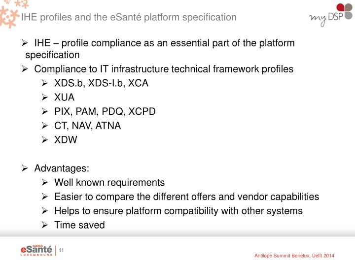 IHE profiles and the eSanté platform specification