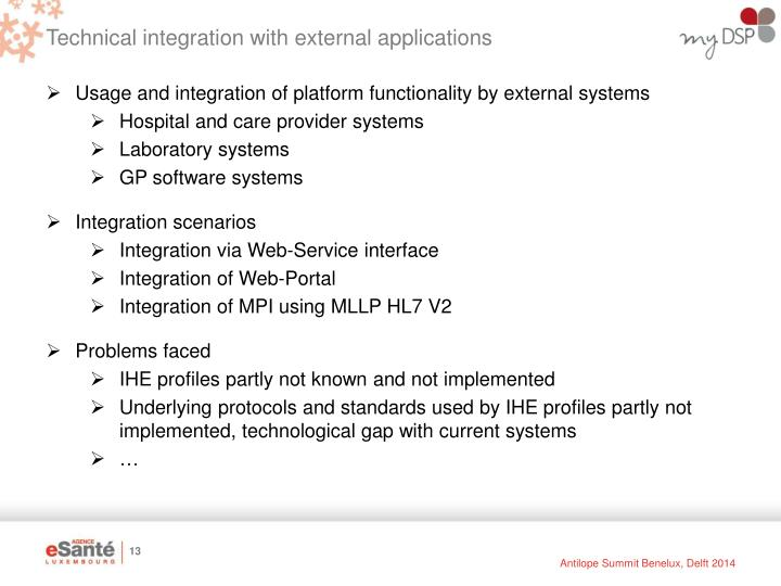 Technical integration with external applications