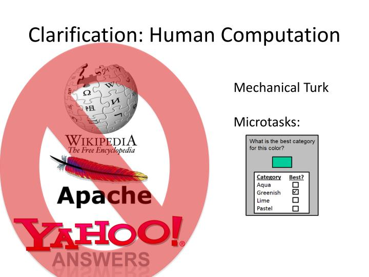 Clarification: Human Computation