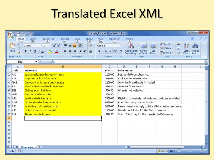 Translated Excel XML