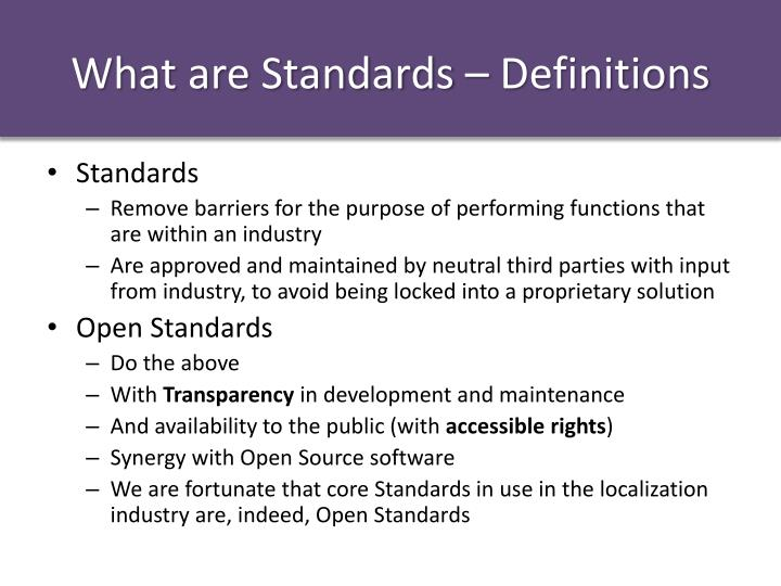 What are Standards – Definitions