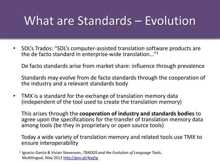 What are Standards – Evolution