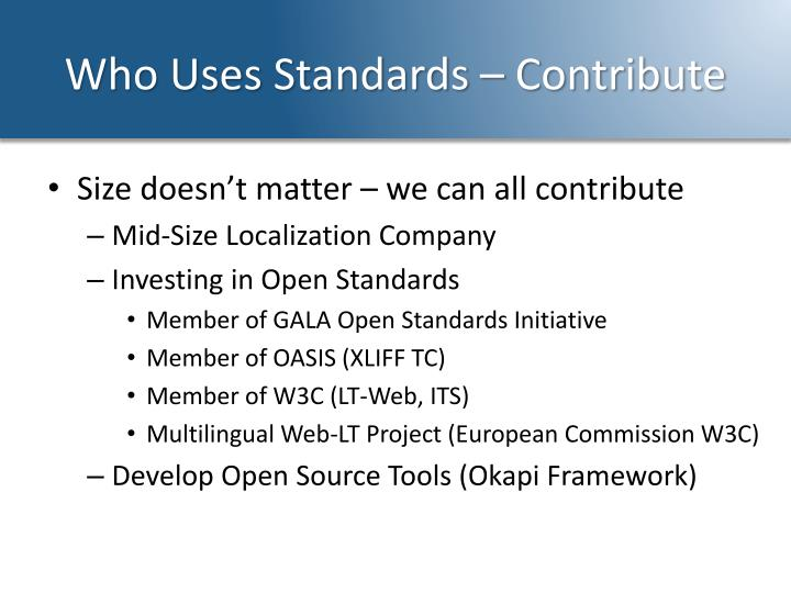 Who Uses Standards – Contribute