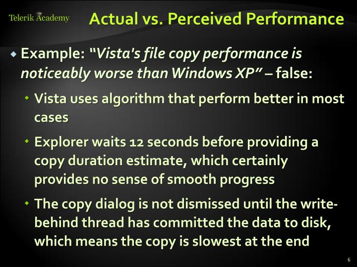 Actual vs. Perceived Performance