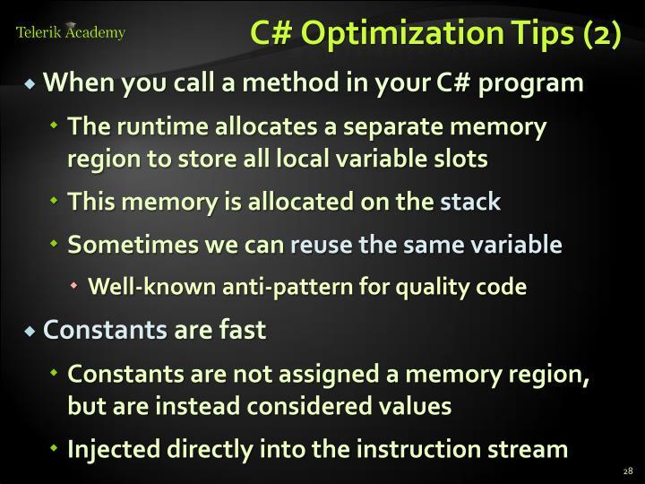 C# Optimization