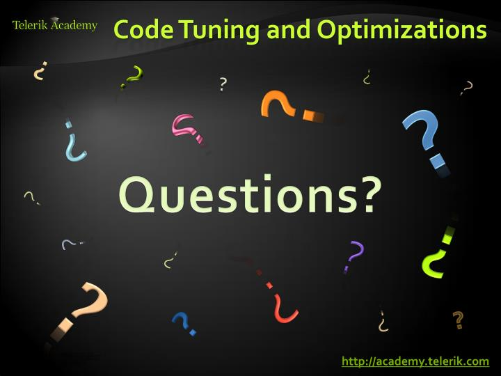 Code Tuning and Optimizations