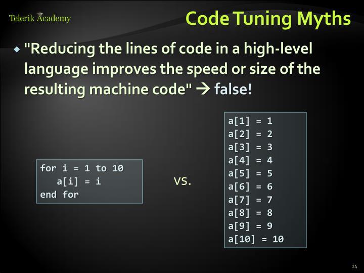 Code Tuning Myths