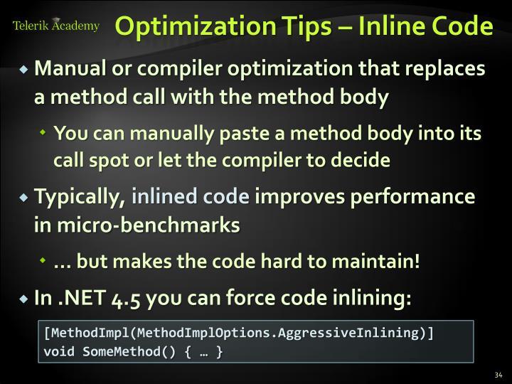 Optimization Tips –