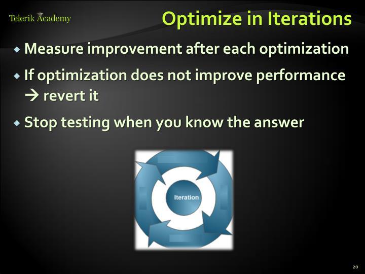 Optimize in