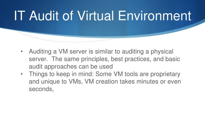 IT Audit of Virtual Environment