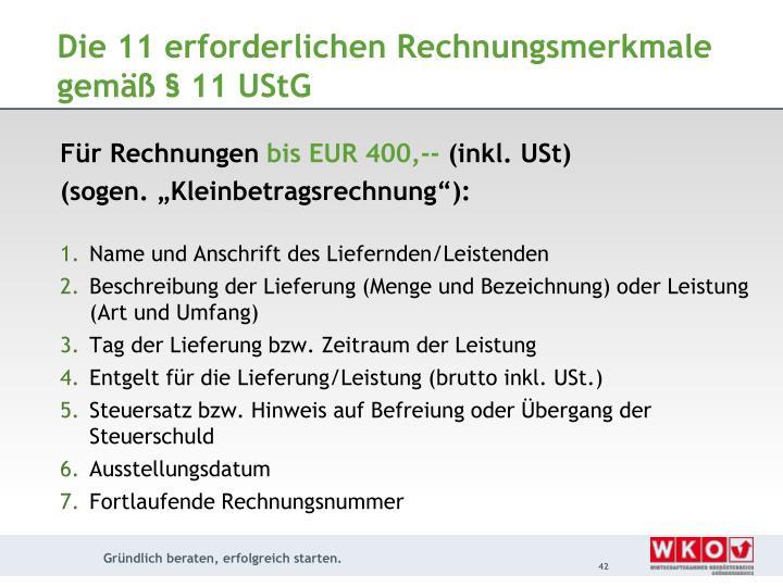 Die 11 erforderlichen Rechnungsmerkmale gemäß § 11 UStG