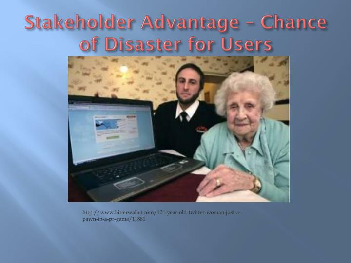 Stakeholder Advantage – Chance of Disaster for Users